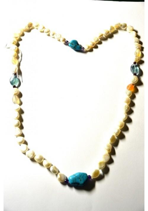 Collar de Perlas naturales y turquesas