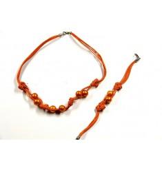 Collar y Pulsera de perlas naturales naranja