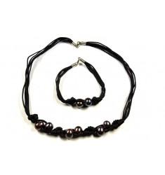 Collar y pulsera de perlas naturales negra