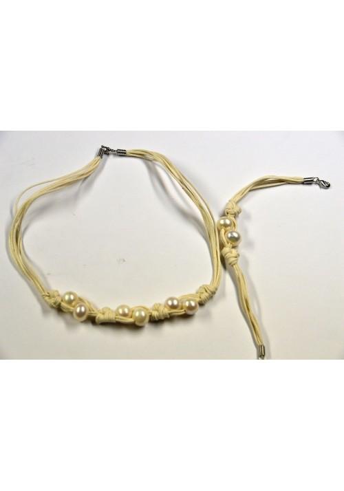 Collar y Pulsera de perlas naturales blanco