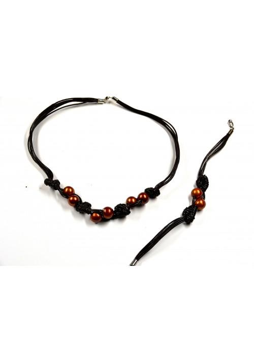 Collar y Pulsera de perlas naturales cobrizo