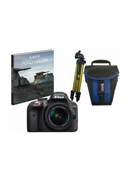 Cámara réflex digital Nikon D3300 con Objetivo AF-P DX 18-55mm + Funda y trípode