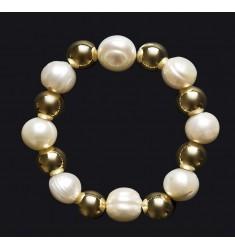 Pulsera De Bussy en plata de ley con baño de oro 24 k y perlas
