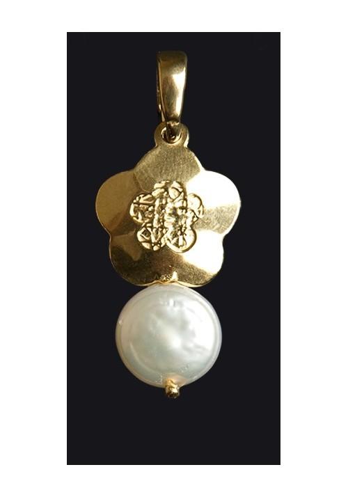colgante plata con baño de oro y perla cultivada